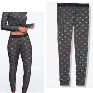 VS Pink Cozy Sleep Leggings Rainbow Ombré Logo